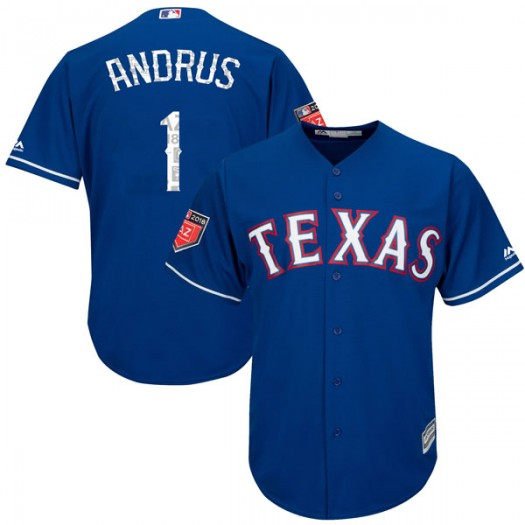 Youth Majestic Elvis Andrus Texas Rangers Player Authentic Royal Cool Base 2018 Spring Training Jersey