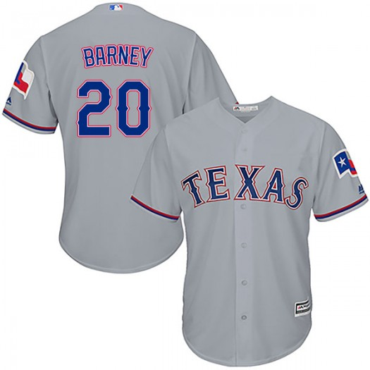 Youth Majestic Darwin Barney Texas Rangers Player Replica Gray Cool Base Road Jersey