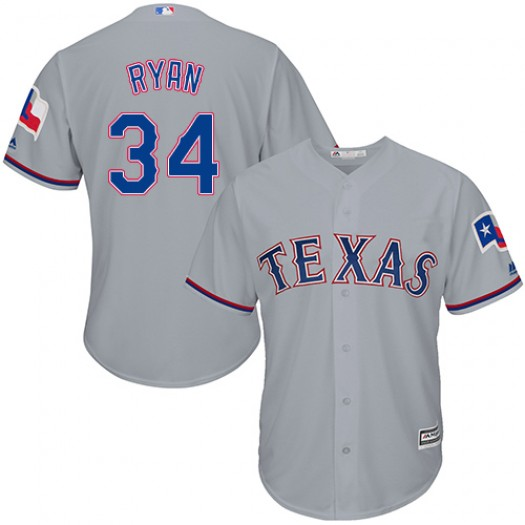Men's Majestic Nolan Ryan Texas Rangers Player Authentic Grey Road Cool Base Jersey